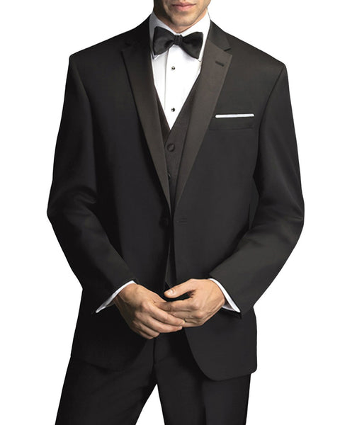 Rainwater's Slim Fit Black Notch Tuxedo In Tropical Weight Man Made Fabric - Rainwater's Men's Clothing and Tuxedo Rental