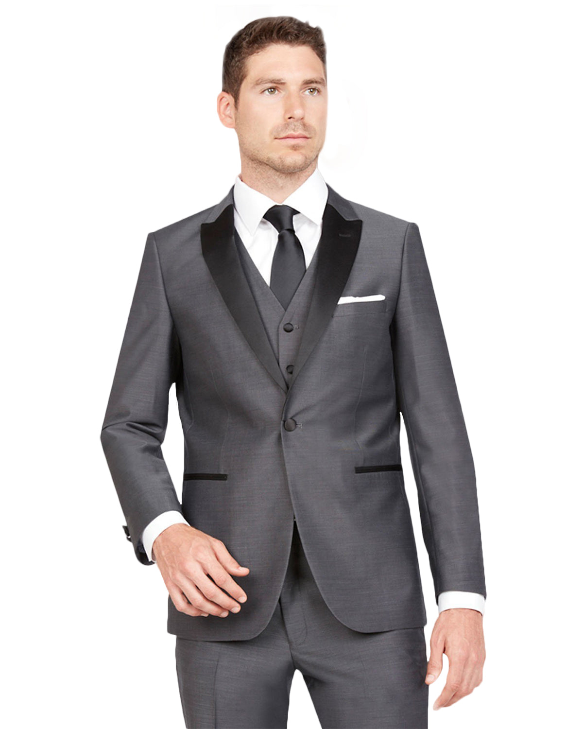 Dark Grey With Black Peak Lapel Tuxedo Rental - Rainwater's Men's Clothing and Tuxedo Rental