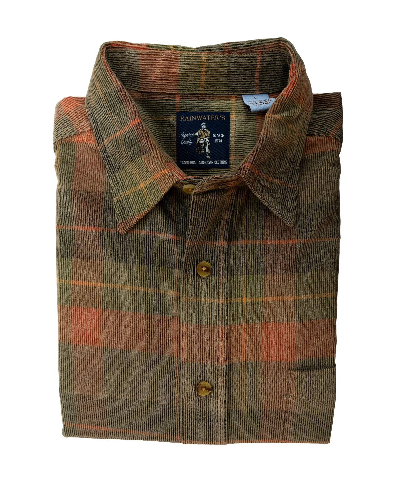 Washed Corduroy Sport Shirt Autumn Multi Colors Plaid Shirt - Rainwater's Men's Clothing and Tuxedo Rental