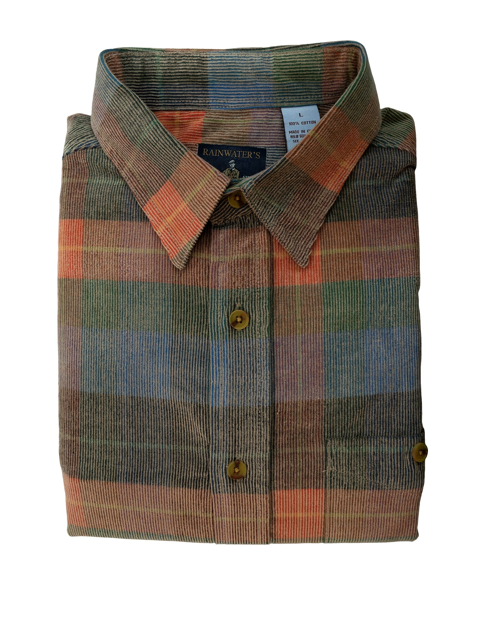 Washed Corduroy Sport Shirt In Blue, Brown and Orange Plaid - Rainwater's Men's Clothing and Tuxedo Rental