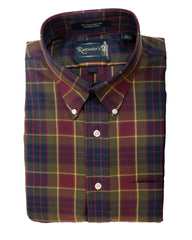 Olive & Burgundy Plaid Wrinkle Free Sport Shirt by Rainwater's - Rainwater's