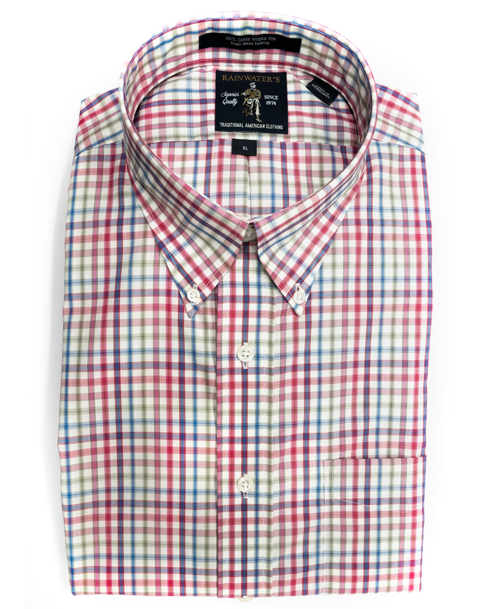 Rainwater's Plaid Button Up in Coral & Blue - Rainwater's Men's Clothing and Tuxedo Rental