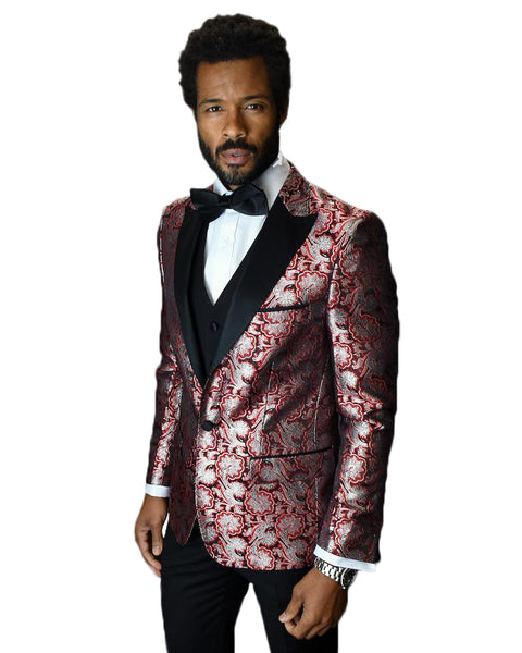 Red Paisley With Black Peak Lapel Dinner Jacket Tuxedo Rental - Rainwater's