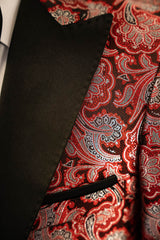 Red Paisley With Black Peak Lapel Dinner Jacket Tuxedo Rental - Rainwater's Men's Clothing and Tuxedo Rental