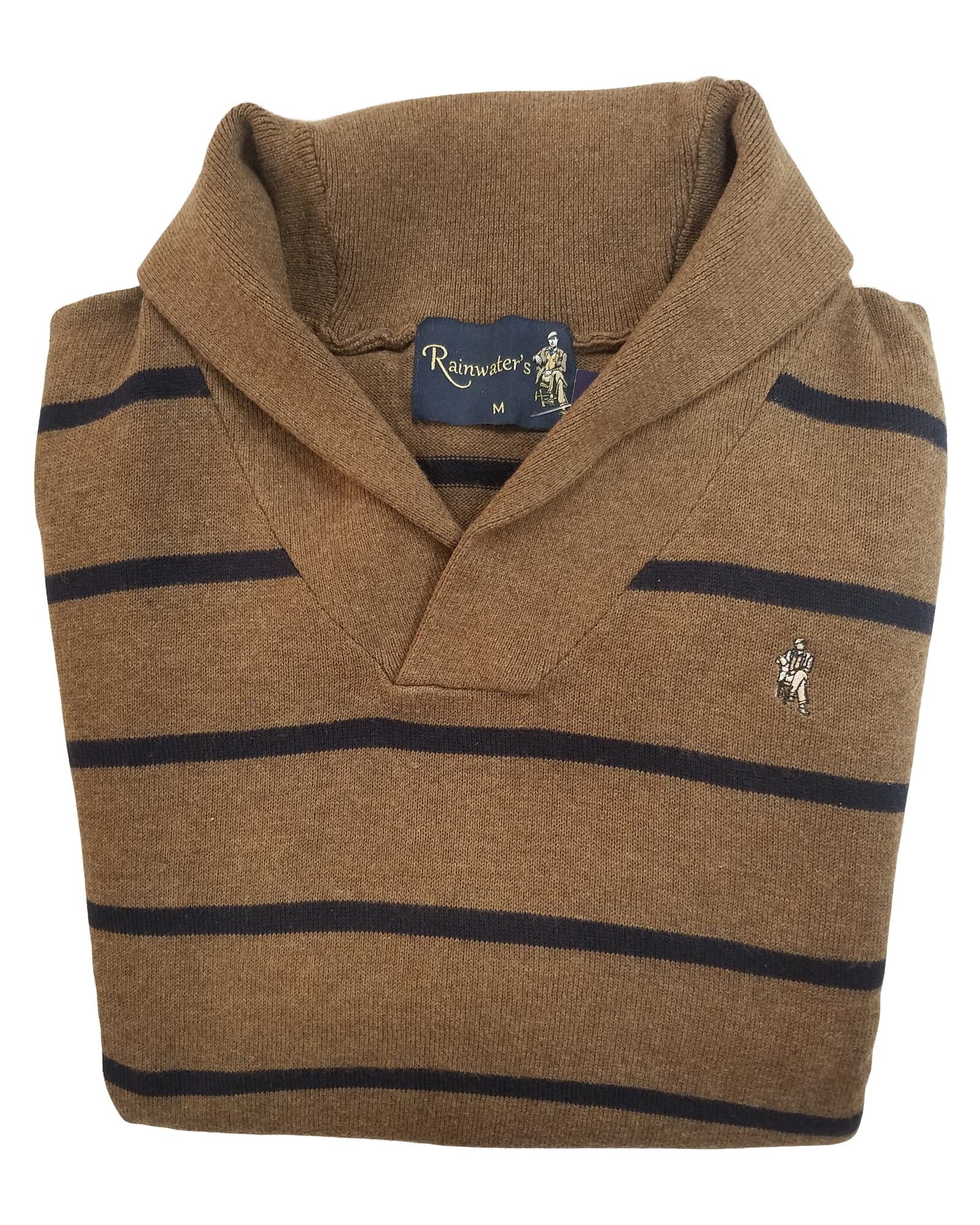 Shawl Collar Sweater in Brown With Navy Stripes Cotton Blend