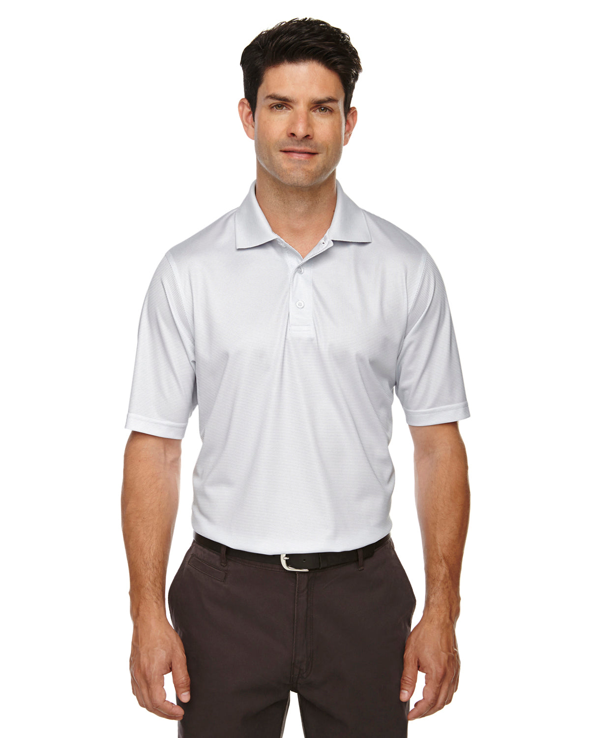 Rainwater's Mini Stripe Polo in Silver-White - Rainwater's Men's Clothing and Tuxedo Rental