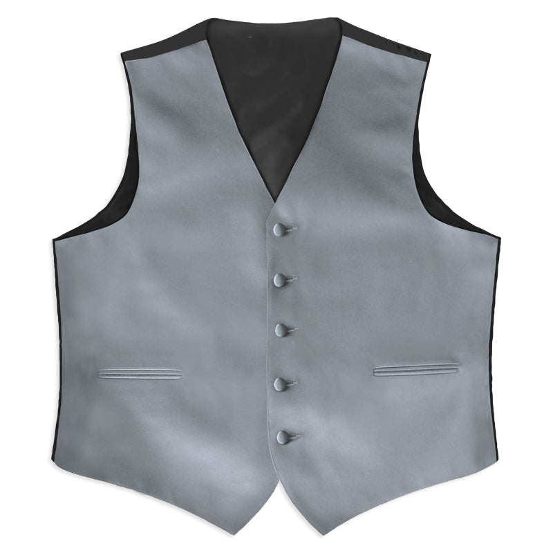 Silver Satin Rental Vest - Rainwater's Men's Clothing and Tuxedo Rental