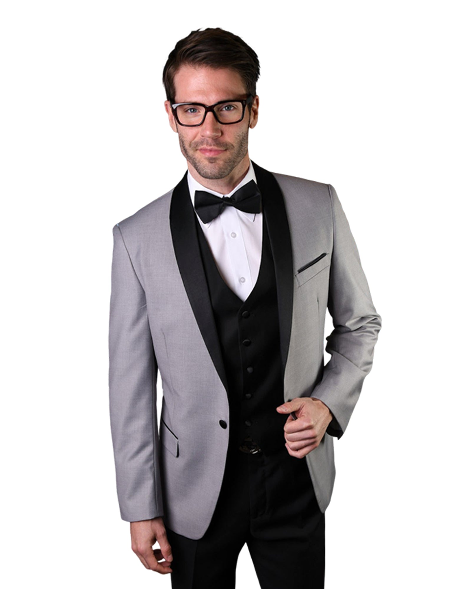 Silver With Black Shawl Dinner Jacket Tuxedo Rental - Rainwater's Men's Clothing and Tuxedo Rental