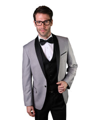 Silver With Black Shawl Dinner Jacket Tuxedo Rental - Rainwater's
