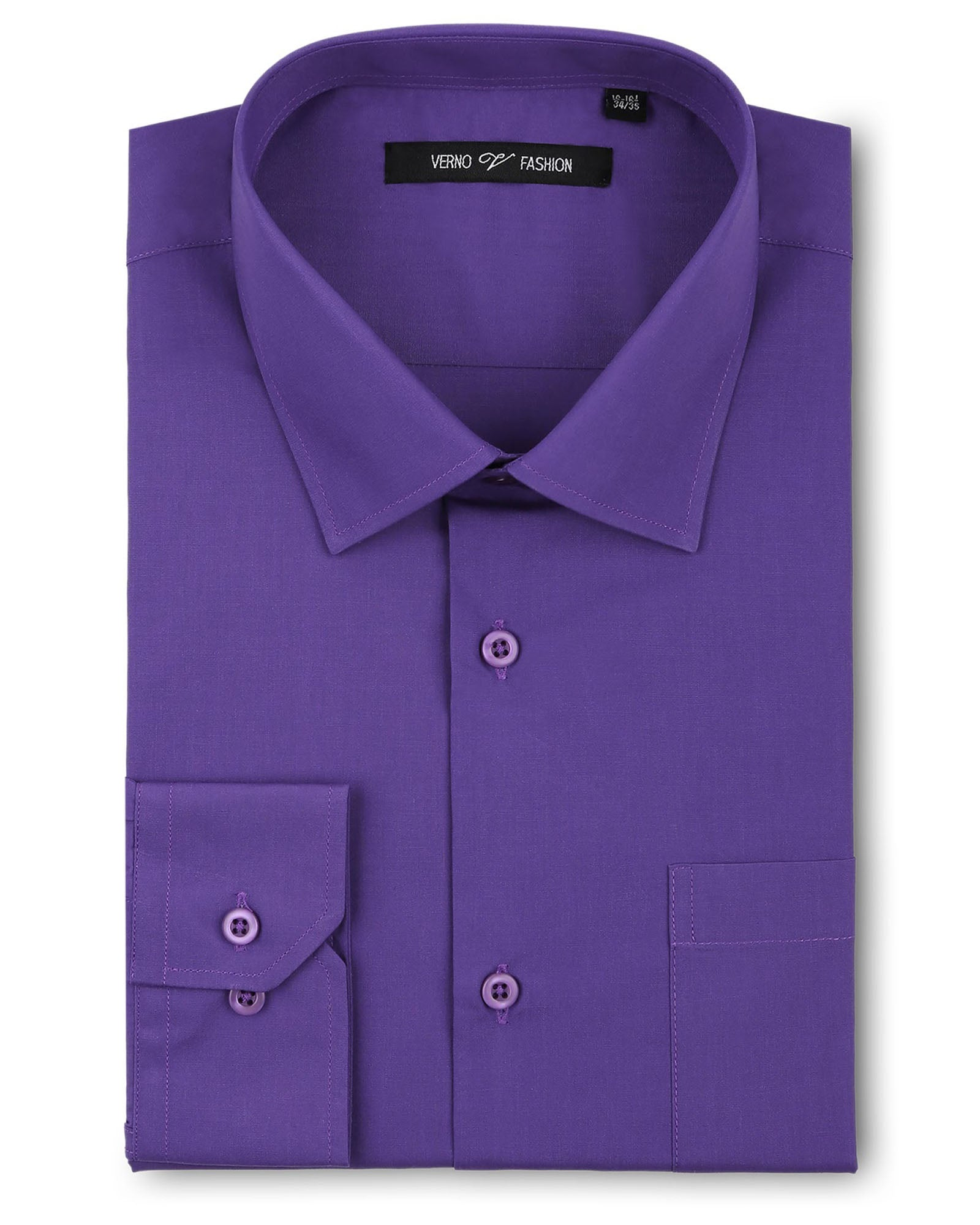 Verno Fashion Dress Shirt Polyester Cotton Blend in Lilac - Rainwater's