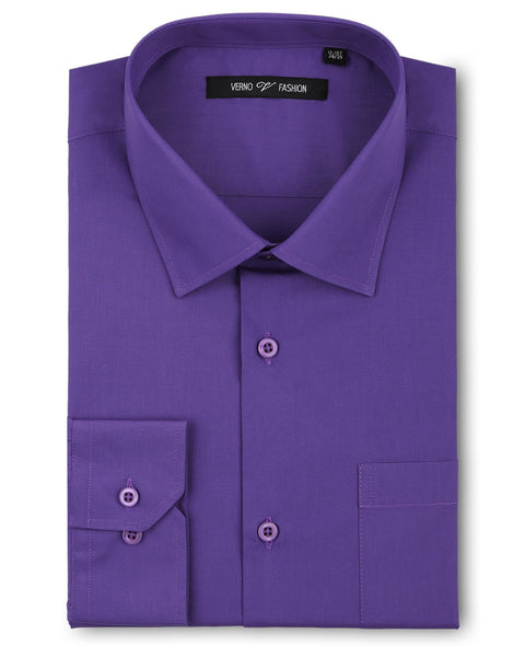 Verno Fashion Dress Shirt Polyester Cotton Blend in Lilac - Rainwater's Men's Clothing and Tuxedo Rental