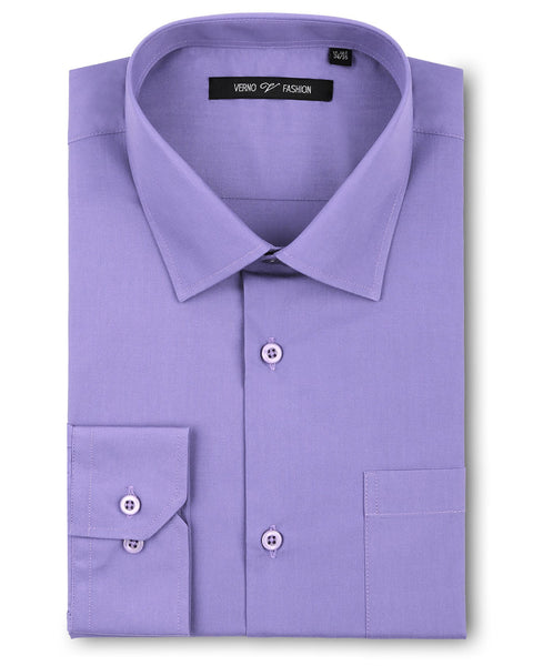Verno Fashion Dress Shirt Polyester Cotton Blend in Lavender - Rainwater's Men's Clothing and Tuxedo Rental
