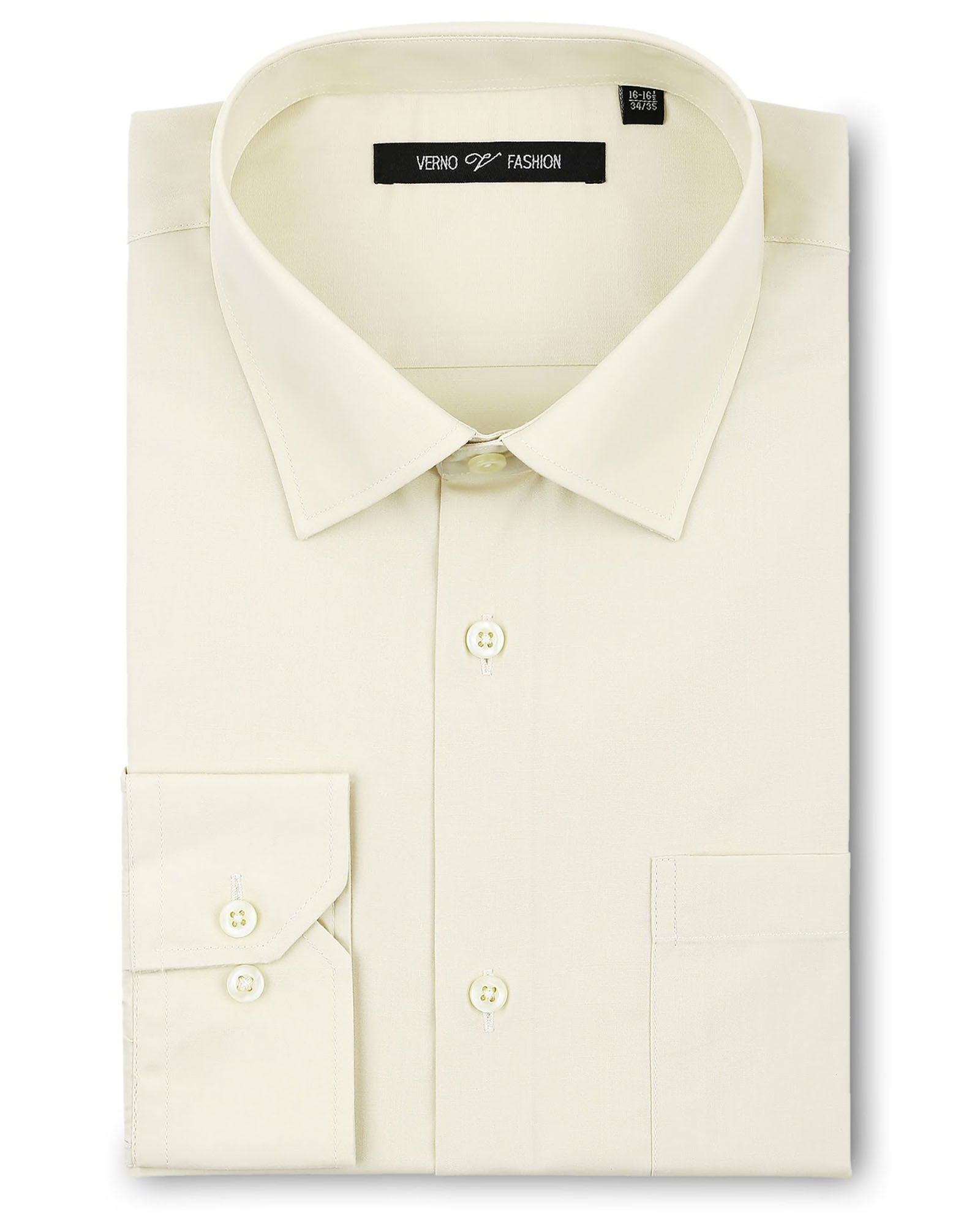 Verno Fashion Dress Shirt Polyester Cotton Blend in Ivory - Rainwater's