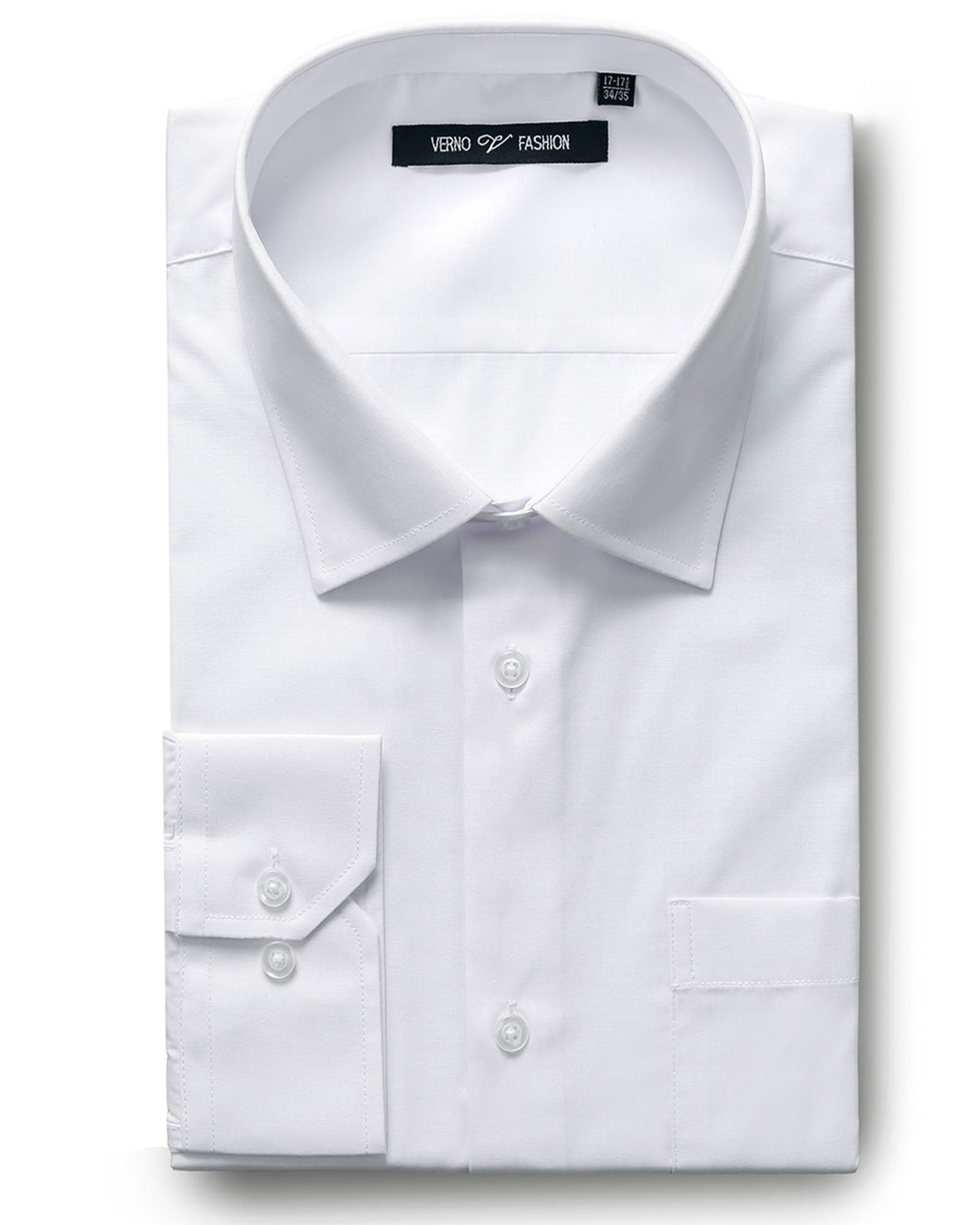 Verno Fashion Dress Shirt Polyester Cotton Blend in White - Rainwater's Men's Clothing and Tuxedo Rental