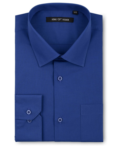 Verno Fashion Dress Shirt Polyester Cotton Blend in Royal Blue - Rainwater's Men's Clothing and Tuxedo Rental