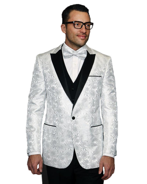 White Paisley With Black Peak Lapel Dinner Jacket Tuxedo Rental - Rainwater's Men's Clothing and Tuxedo Rental