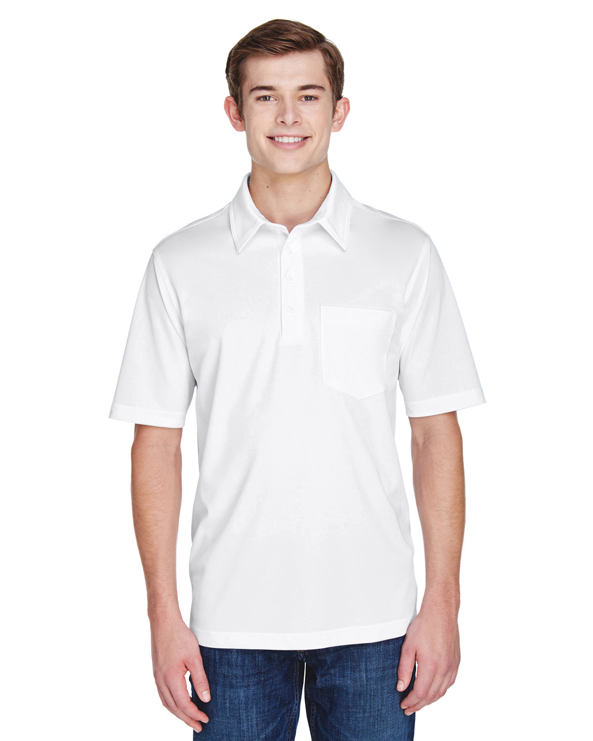 Rainwater's Straight Collar Pocket Knit Polo in White - Rainwater's Men's Clothing and Tuxedo Rental