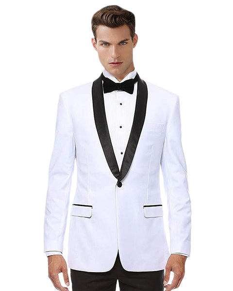 White With Black Shawl Dinner Jacket Tuxedo Rental - Rainwater's