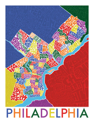 Philadelphia Neighborhood Type Map Print by I Lost My Dog at local housewares store Division IV in Philadelphia, Pennsylvania