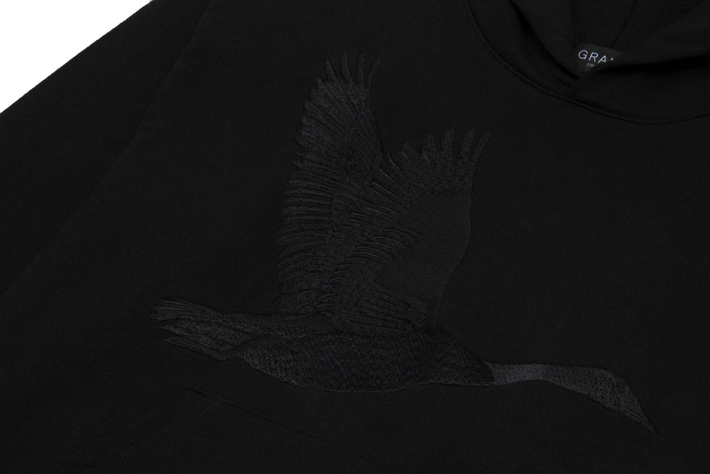 Goose Embroidered Sweatshirt Black