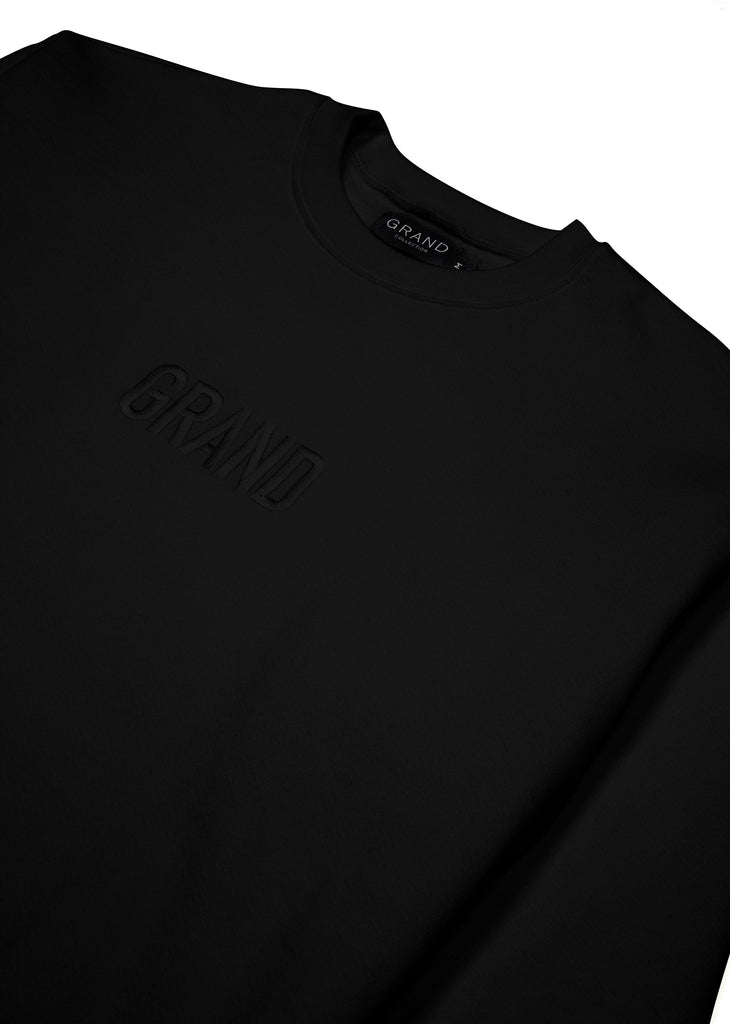 Tonal Embroidered Crewneck Black