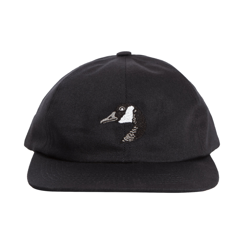 Goose Embroidered Cap Black