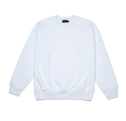Tonal Embroidered Crewneck White
