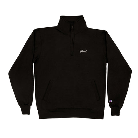 Grand Script Quarter Zip Black