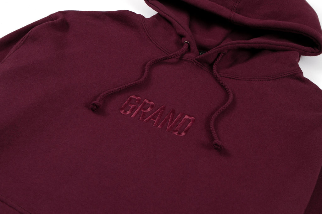 Tonal Embroidered Hoodie Burgundy