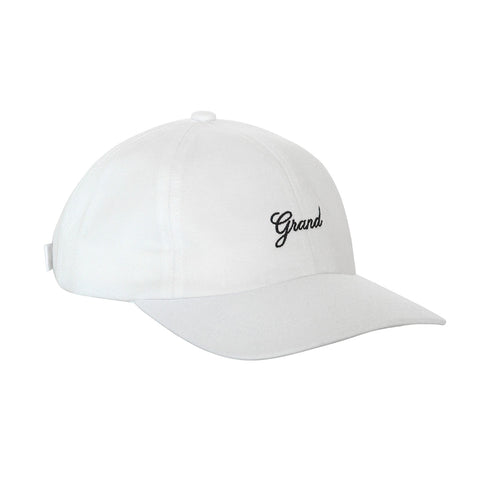 Grand Script 6 Panel Cap White
