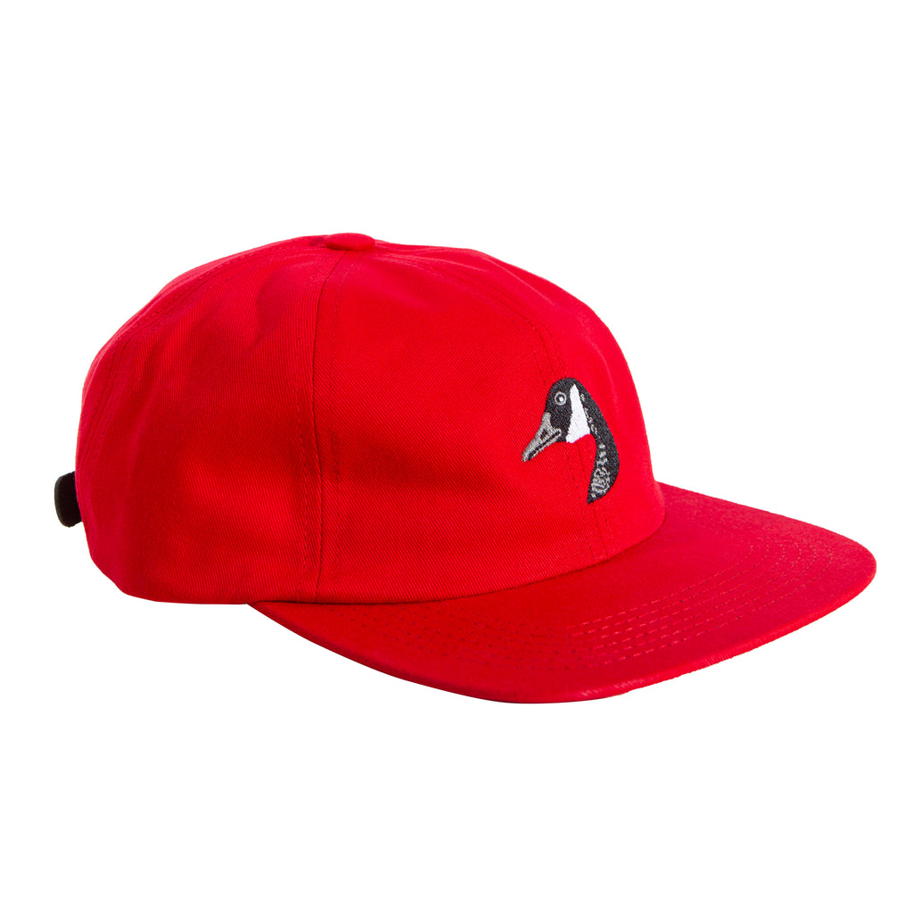 Goose Embroidered Cap Red
