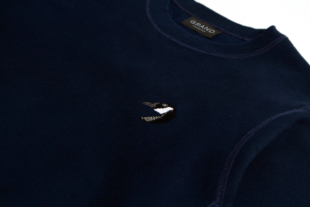 Goose Embroidered Crew Navy