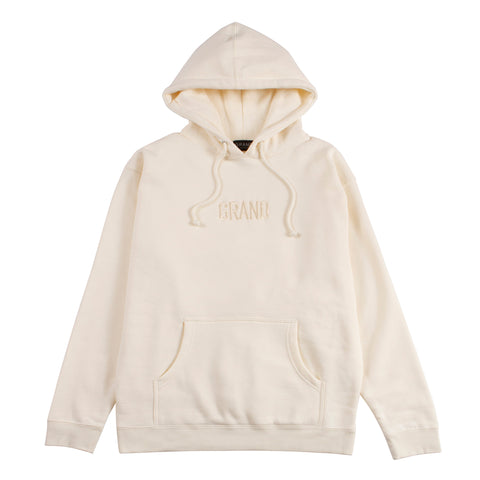 Tonal Embroidered Hoodie Cream