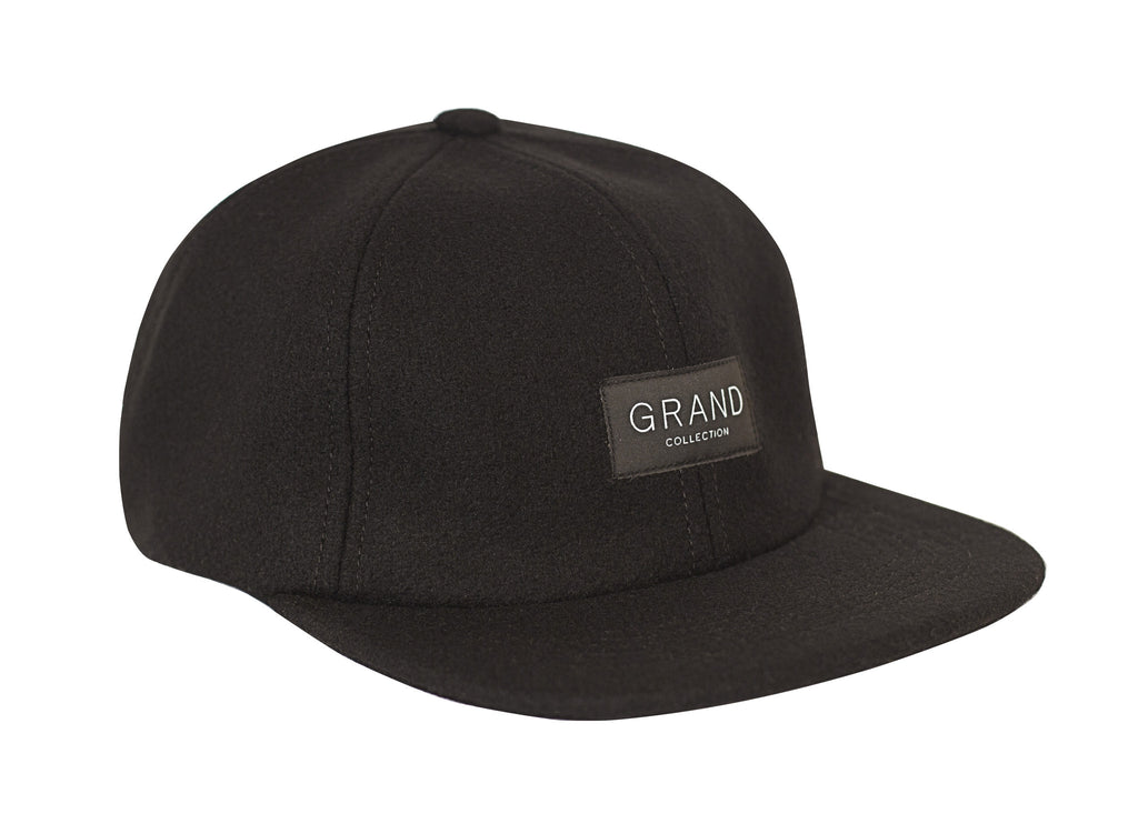 GRAND COLLECTION BLACK MELTON WOOL CAP