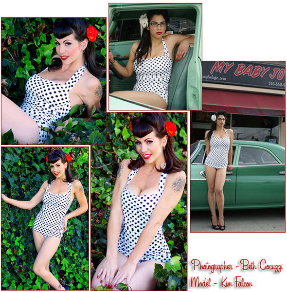 One Piece Classic Sheath White with Black Dot Swimsuit Clearance