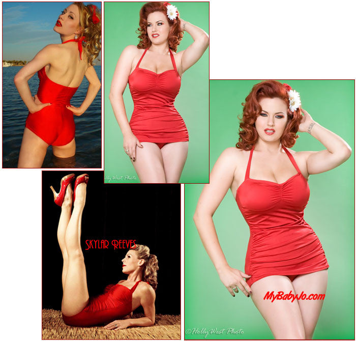 One Piece Classic Sheath Red Swimsuit