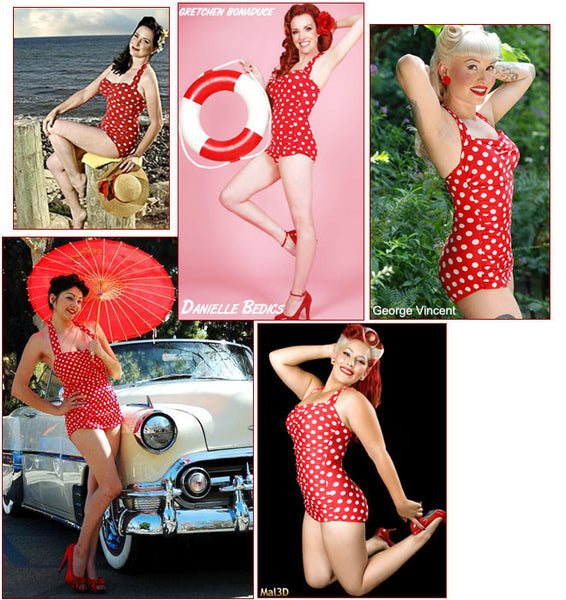 One Piece Classic Sheath Retro Dot Red Swimsuit