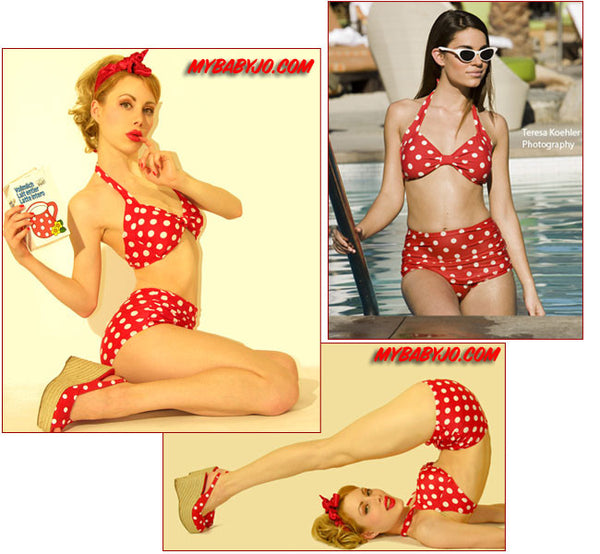 Two Piece Classic Sheath Retro Dot Red Swimsuit