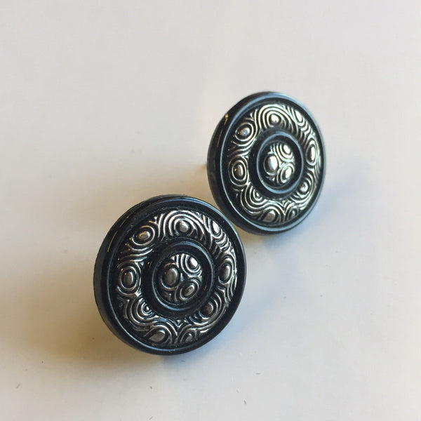 Black Beauty Vintage Button Earrings