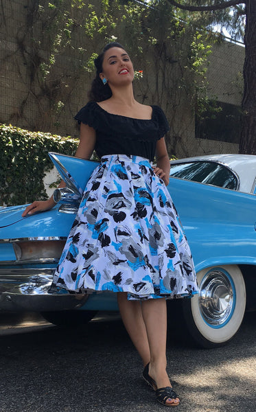 Whirl Away Circle Skirt Blue Watercolor