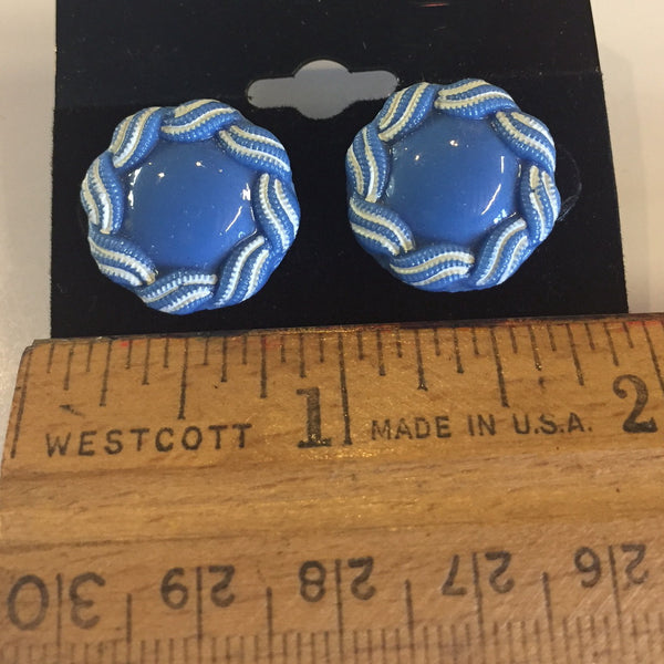 Blue Sky Vintage Button Earrings