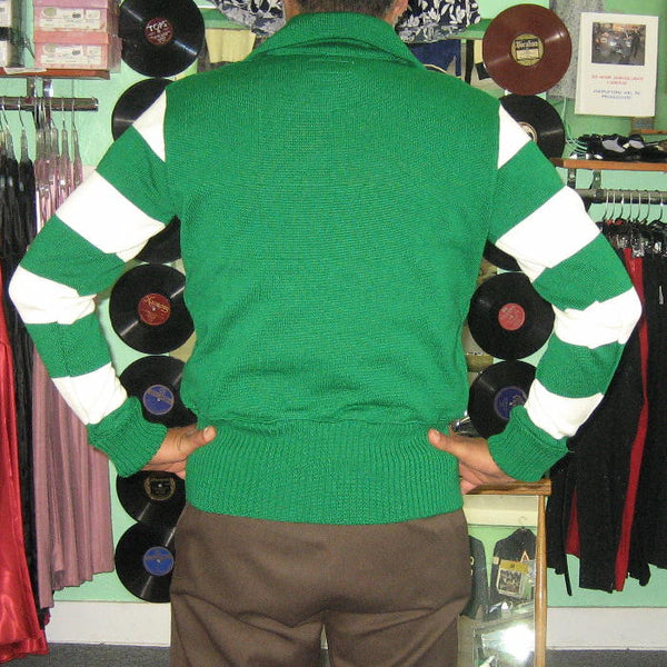 Vintage Motorcycle Racing Sweater Green Ivory