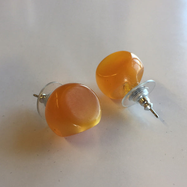 Butterscotch Vintage Button Earrings