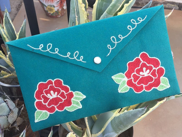 Chainstitch embroidered Roses Clutch