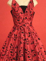 red 1950s swing dress