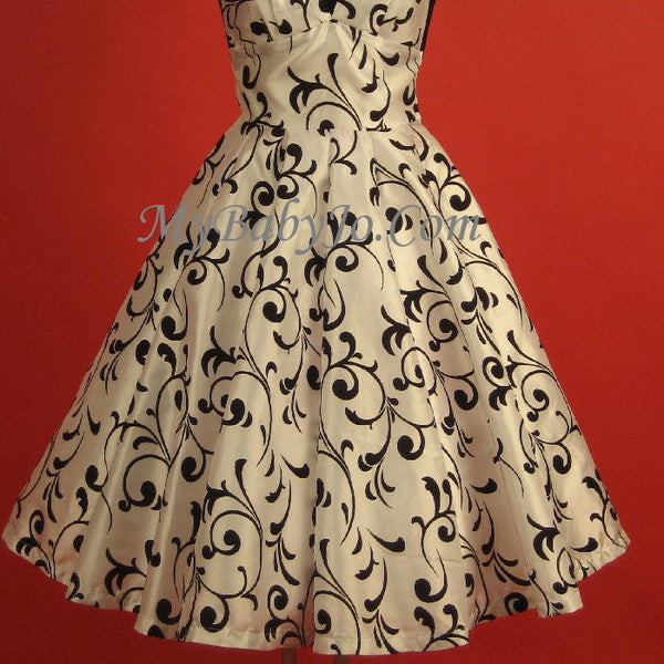 white 1950s swing dress