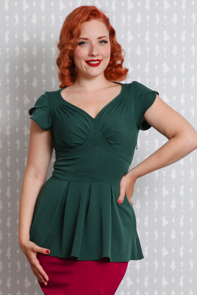 Gia Peplum Stretch Emerald Top