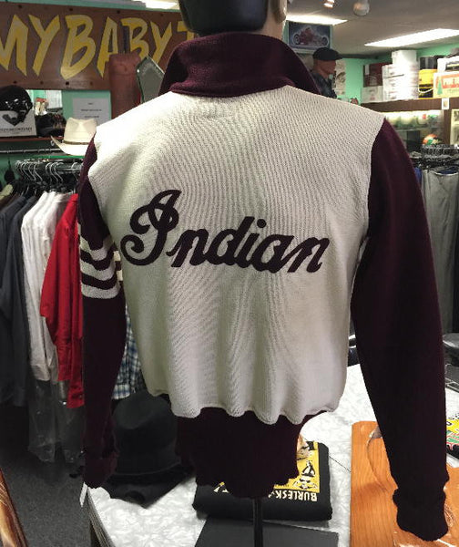Vintage Motorcycle Racing Sweater Maroon and Cream