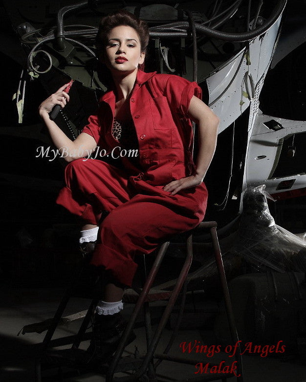 Riveting Jumpsuit Red