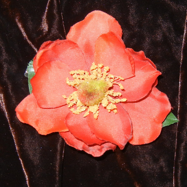 Magnolia Burnt Orange Floral Barrette